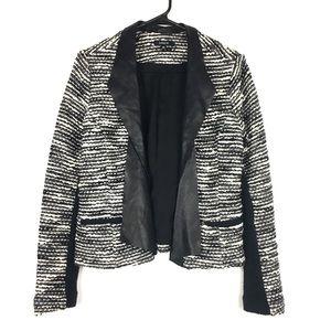 Anthro DREW boucle tweed jacket leather lapels